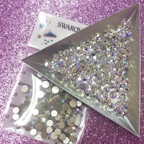 Mixed Pack of 150pc Swarovski Flatback Crystals, Non-Hotfix, Mix Of Sizes SS14/SS16/SS20. Crystal AB